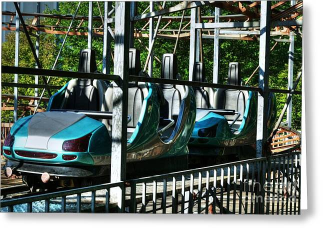 At Work Greeting Cards - Retro Roller Coaster Greeting Card by Mel Steinhauer