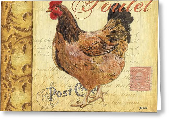 Outdoor Paintings Greeting Cards - Retro Rooster 1 Greeting Card by Debbie DeWitt