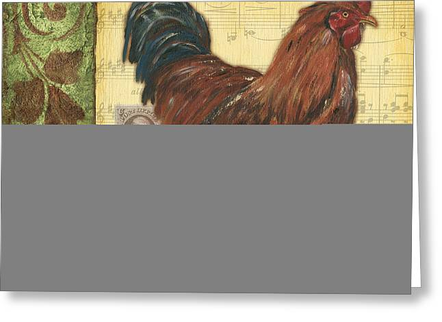 Composition Greeting Cards - Retro Rooster 2 Greeting Card by Debbie DeWitt