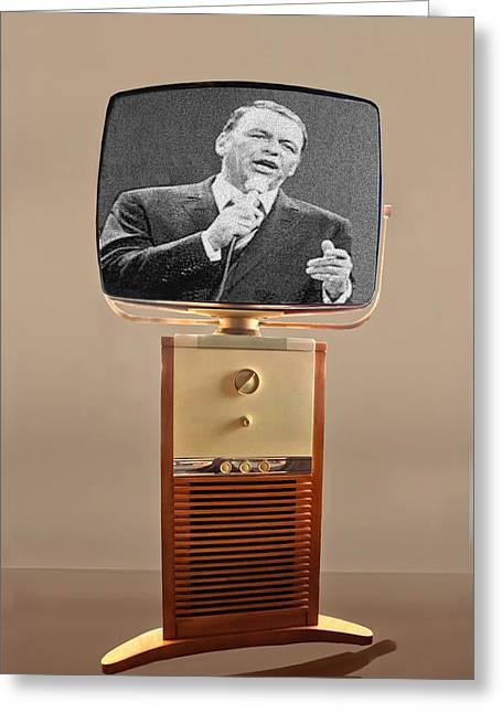 1950s Tv Greeting Cards - Retro Sinatra On TV Greeting Card by Matthew Bamberg