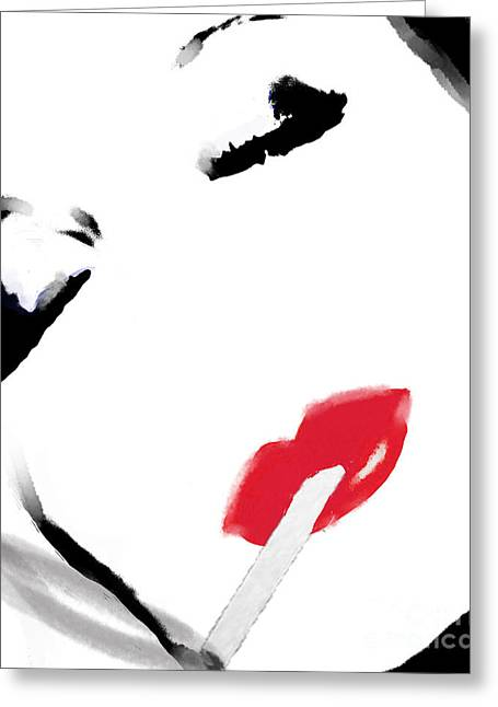 Smoking Cigarette Greeting Cards - Retro Smoking Woman Portrait Greeting Card by Mindy Sommers