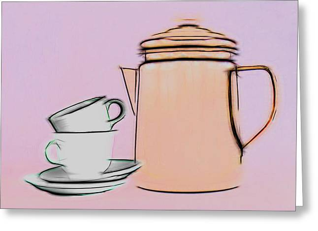 Retro Style Coffee Illustration Greeting Card by Tom Mc Nemar