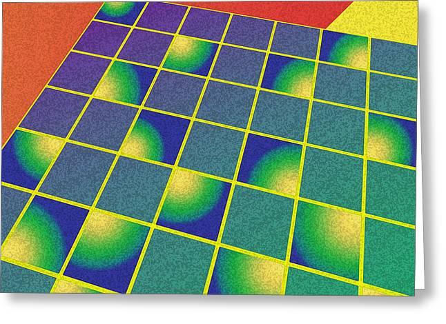 Geometric Digital Art Greeting Cards - Retro style perspective Greeting Card by Gaspar Avila