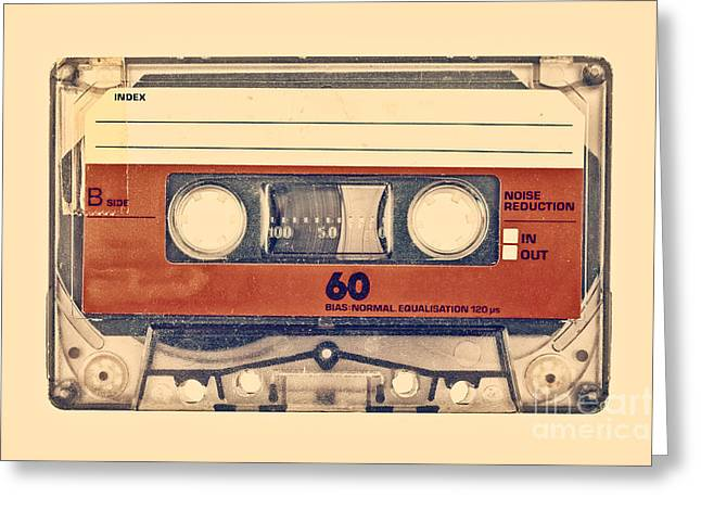 1980s Greeting Cards - Retro styled image of an old compact cassette Greeting Card by Martin Bergsma
