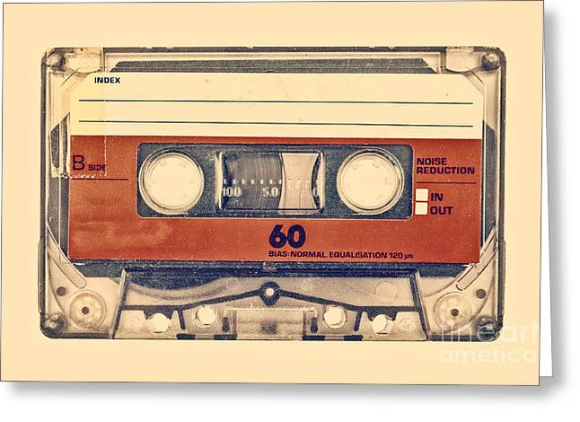 1970s Music Greeting Cards - Retro styled image of an old compact cassette Greeting Card by Martin Bergsma