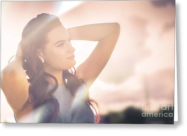 Retro Summer Pinup Girl In Bright Rays Of Sunlight Greeting Card by Jorgo Photography - Wall Art Gallery