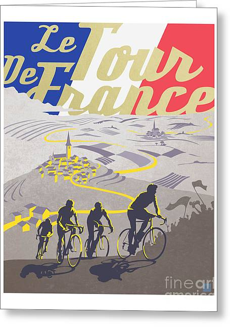 Cycling Paintings Greeting Cards - Retro Tour de France Greeting Card by Sassan Filsoof