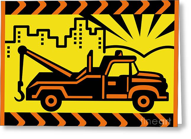 Full Body Digital Art Greeting Cards - Retro Tow truck Greeting Card by Aloysius Patrimonio