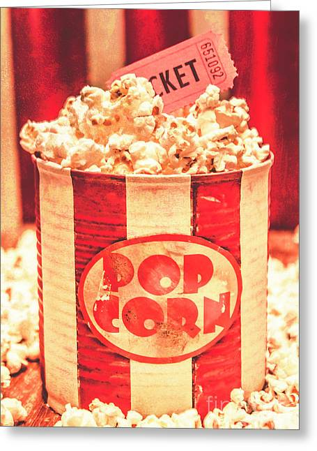 Retro Tub Of Butter Popcorn And Ticket Stub Greeting Card by Jorgo Photography - Wall Art Gallery