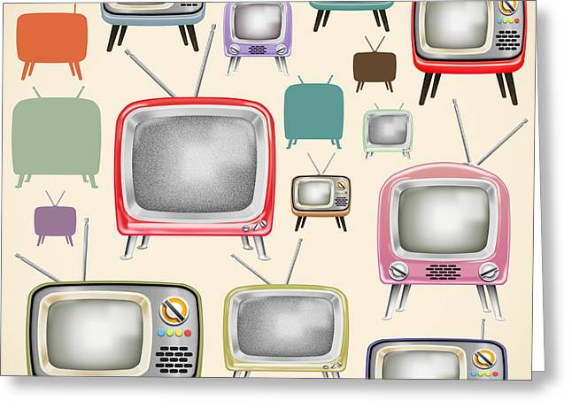 Buttons Greeting Cards - retro TV pattern  Greeting Card by Setsiri Silapasuwanchai