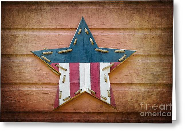 Retro Usa Star Greeting Card by Jane Rix