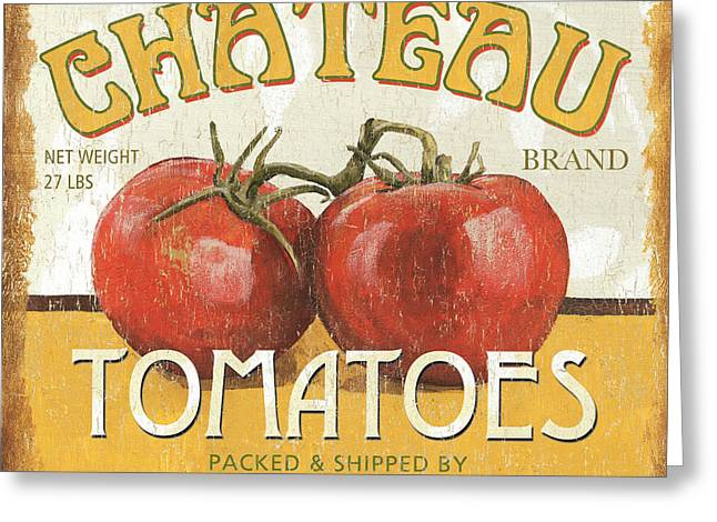 Chateau Greeting Cards - Retro Veggie Labels 4 Greeting Card by Debbie DeWitt