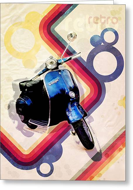 Chic Digital Greeting Cards - Retro Vespa Scooter Greeting Card by Michael Tompsett