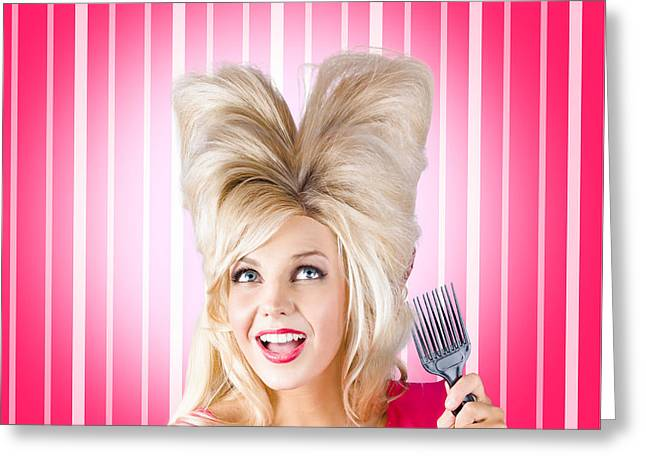 Retro Woman With Hairstyle Love. Heart Shape Hair Greeting Card by Jorgo Photography - Wall Art Gallery