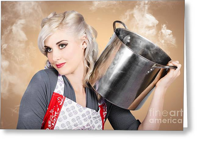 Retro Women And Homemakers. Pin Up Cooking Greeting Card by Jorgo Photography - Wall Art Gallery