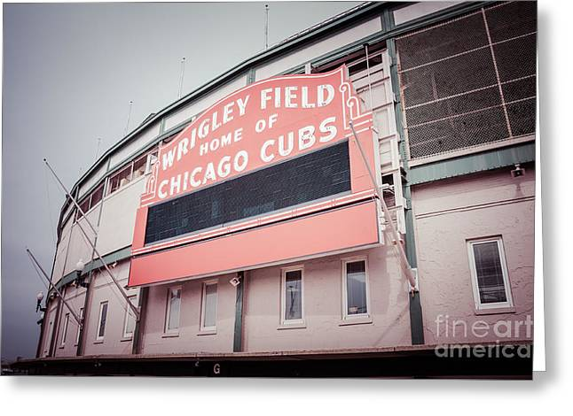 Retro Wrigley Field Sign Greeting Card by Paul Velgos