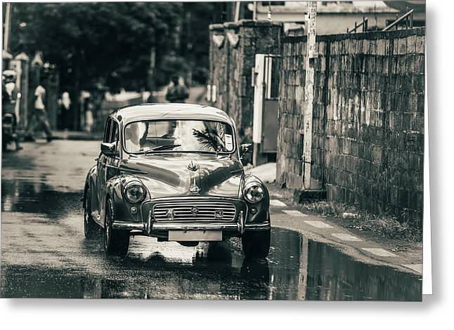 Retromobile. Morris Minor. Vintage Monochrome Greeting Card by Jenny Rainbow