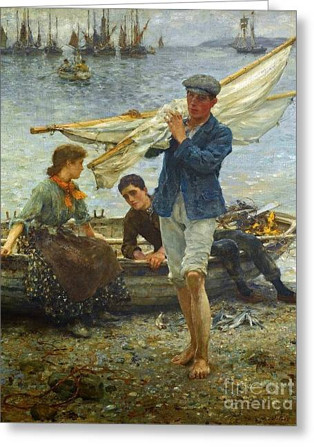 1907 Greeting Cards - Return from Fishing Greeting Card by MotionAge Designs