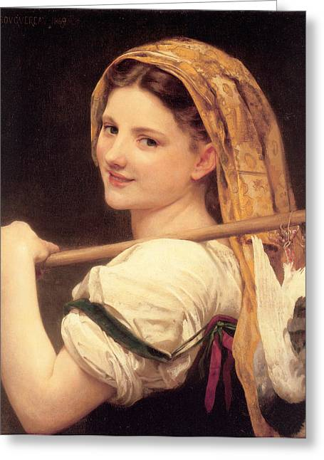 Old Masters Greeting Cards - Return From The Market Greeting Card by William Bouguereau