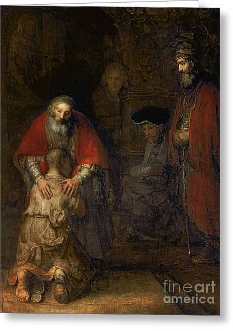 Knelt Paintings Greeting Cards - Return of the Prodigal Son Greeting Card by Rembrandt Harmenszoon van Rijn