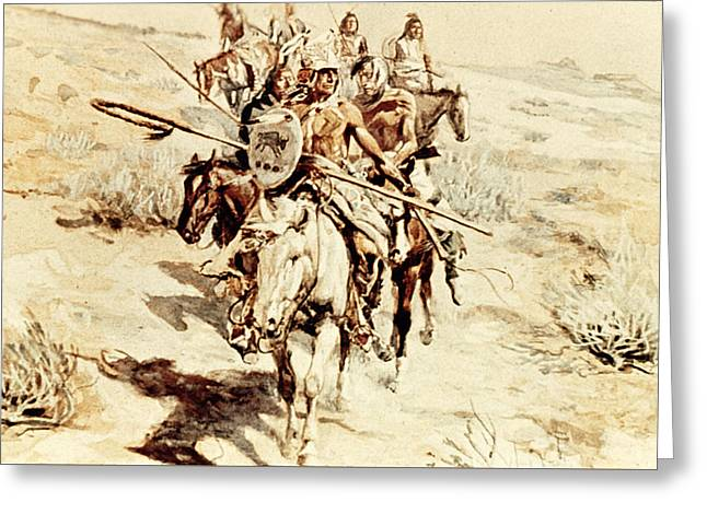 Return Of The Warriors Greeting Card by Charles Marion Russell