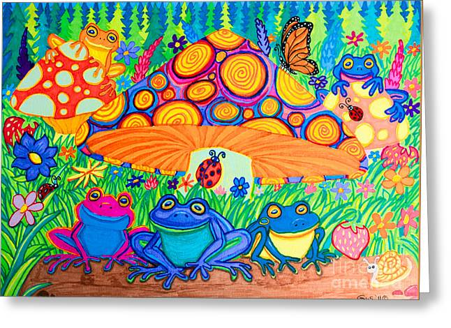 Return To Happy Frog Meadow Greeting Card by Nick Gustafson