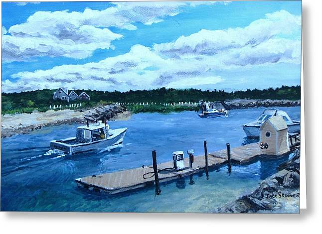 Northside Marina. Paintings Greeting Cards - Returning to Sesuit Harbor Greeting Card by Jack Skinner