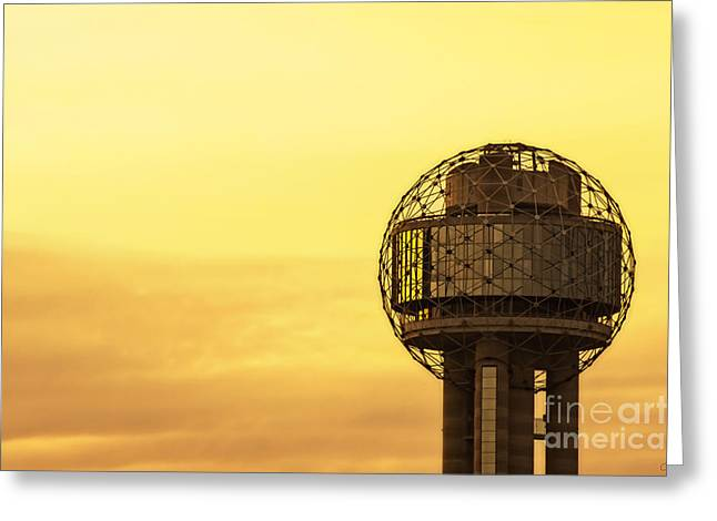 Restaurant On Top Greeting Cards - Reunion Tower at Sunrise Greeting Card by Imagery by Charly