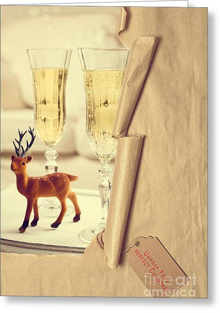 Revealing Christmas Champagne Greeting Card by Amanda Elwell