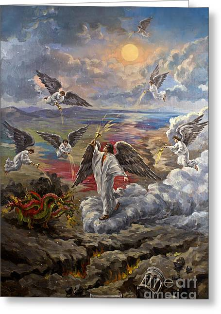 The Leaver Greeting Cards - Revelation 16 Seven Bowl Plagues Original Signed Oil on Canvas Painting Greeting Card by Vigovsky