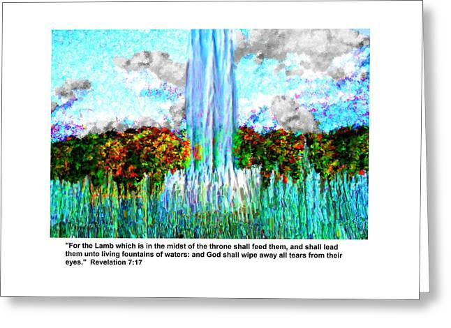 Tears Greeting Cards - Revelation 7 v 17 Greeting Card by Bruce Nutting