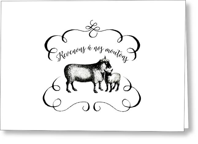 French Language Greeting Cards - Revenons a Nos Moutons Greeting Card by Antique Images