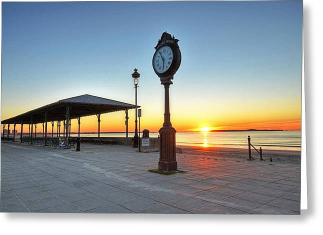 Bandstand Greeting Cards - Revere Beach Clock at sunrise Revere MA Greeting Card by Toby McGuire