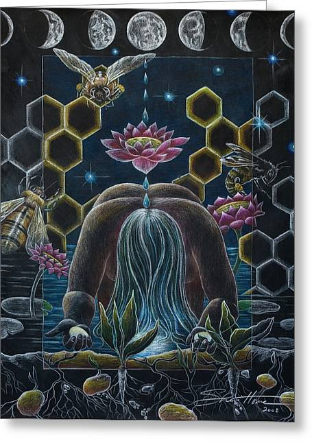 Honeybee Greeting Cards - Reverence  Connection  Protection Greeting Card by Sheri Howe