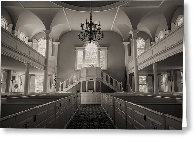 Reverence Photographs Greeting Cards - Reverence - Old First Church of Bennington Greeting Card by Stephen Stookey