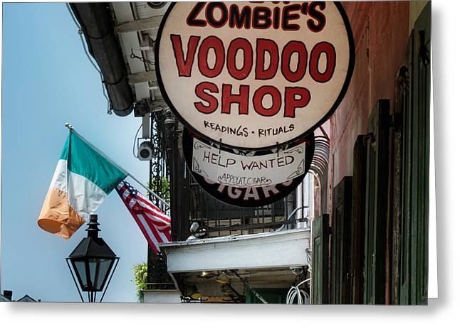 Reverend Zombie's House Of Voodoo Greeting Card by Chrystal Mimbs