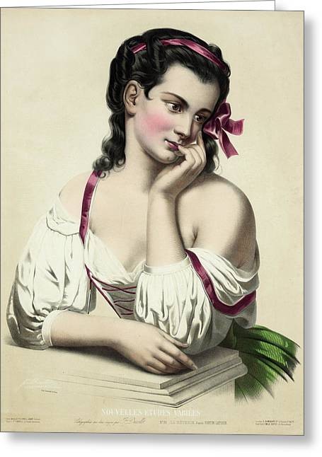 Pensive Drawings Greeting Cards - Reverie after Fantin-Latour Greeting Card by Josephine Ducollet