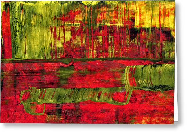 Summer Rain  - Abstract Colorful Mixed Media Painting Greeting Card by Modern Art Prints