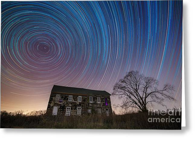 Revolutionary War House Star Trails Greeting Card by Michael Ver Sprill