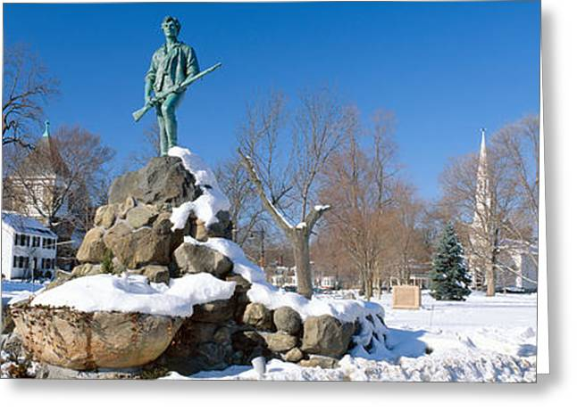 Seat Of Power Greeting Cards - Revolutionary War Memorial In Winter Greeting Card by Panoramic Images
