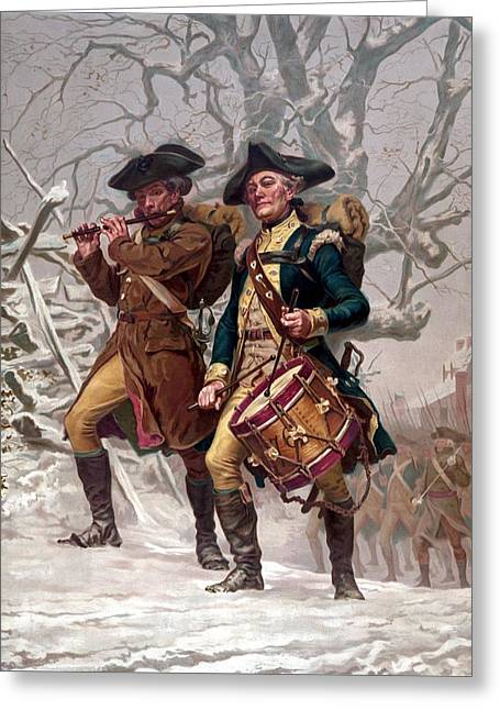 Drummer Greeting Cards - Revolutionary War Soldiers Marching Greeting Card by War Is Hell Store