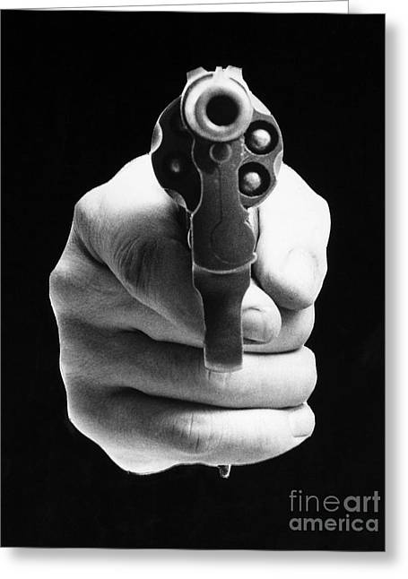 Artflakes Greeting Cards - Revolver Aimed At You Greeting Card by Granger
