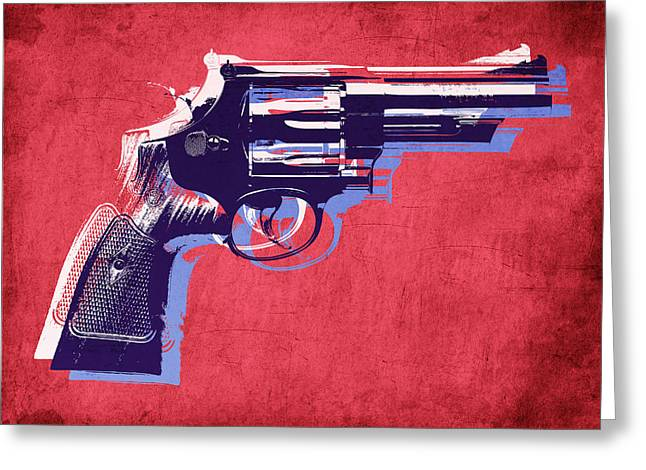 Revolver On Red Greeting Card by Michael Tompsett