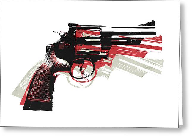 Pistol Greeting Cards - Revolver on White - right facing Greeting Card by Michael Tompsett