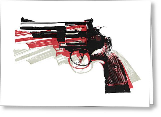 Revolver On White Greeting Card by Michael Tompsett