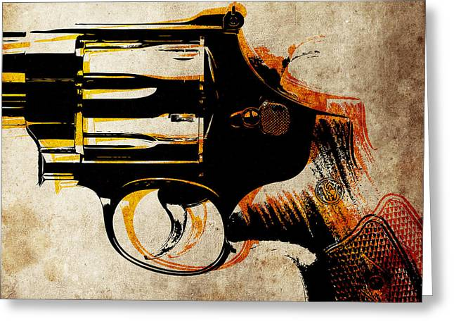 Revolver Trigger Greeting Card by Michael Tompsett