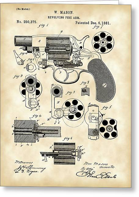 Bullseye Greeting Cards - Revolving Fire Arm Patent 1881 - Vintage Greeting Card by Stephen Younts