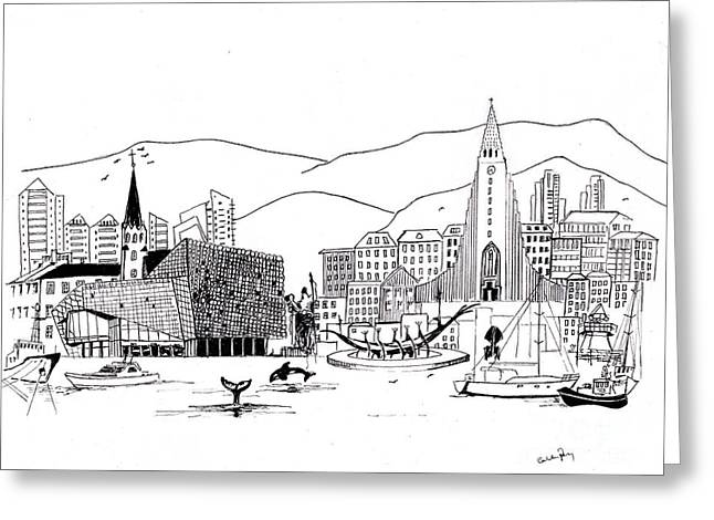 Reykjavik Medley Monochrome Greeting Card by Callan Percy