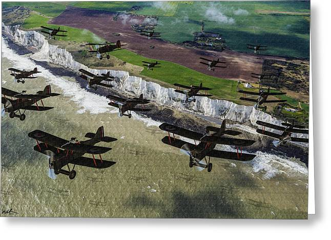 Rfc Se5 Deploys Tp Frane 1917 - Oil Greeting Card by Tommy Anderson