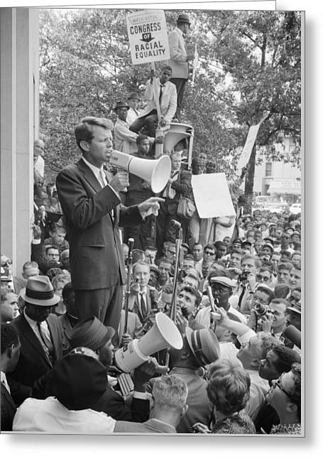 Rfk Speaking At Core Rally Greeting Card by War Is Hell Store
